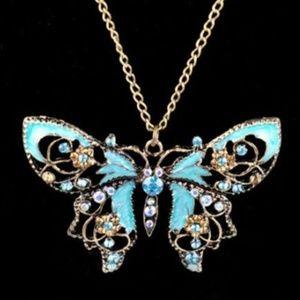 Retro Vintage blue Butterfly Pendant